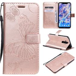 Embossing 3D Butterfly Leather Wallet Case for Nokia 8.1 (Nokia X7) - Rose Gold