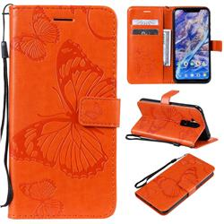 Embossing 3D Butterfly Leather Wallet Case for Nokia 8.1 (Nokia X7) - Orange