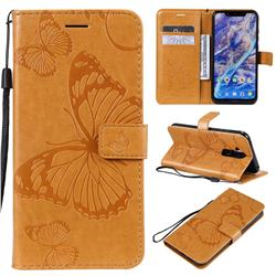 Embossing 3D Butterfly Leather Wallet Case for Nokia 8.1 (Nokia X7) - Yellow