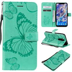 Embossing 3D Butterfly Leather Wallet Case for Nokia 8.1 (Nokia X7) - Green