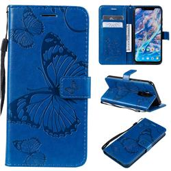 Embossing 3D Butterfly Leather Wallet Case for Nokia 8.1 (Nokia X7) - Blue