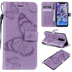 Embossing 3D Butterfly Leather Wallet Case for Nokia 8.1 (Nokia X7) - Purple