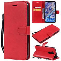 Retro Greek Classic Smooth PU Leather Wallet Phone Case for Nokia 8.1 (Nokia X7) - Red