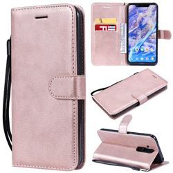 Retro Greek Classic Smooth PU Leather Wallet Phone Case for Nokia 8.1 (Nokia X7) - Rose Gold
