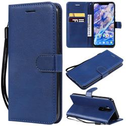 Retro Greek Classic Smooth PU Leather Wallet Phone Case for Nokia 8.1 (Nokia X7) - Blue
