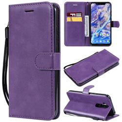 Retro Greek Classic Smooth PU Leather Wallet Phone Case for Nokia 8.1 (Nokia X7) - Purple
