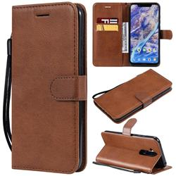 Retro Greek Classic Smooth PU Leather Wallet Phone Case for Nokia 8.1 (Nokia X7) - Brown