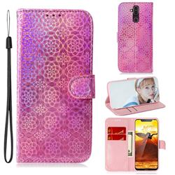Laser Circle Shining Leather Wallet Phone Case for Nokia 8.1 (Nokia X7) - Pink