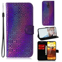 Laser Circle Shining Leather Wallet Phone Case for Nokia 8.1 (Nokia X7) - Purple