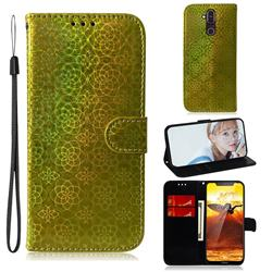 Laser Circle Shining Leather Wallet Phone Case for Nokia 8.1 (Nokia X7) - Golden