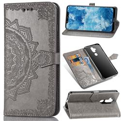 Embossing Imprint Mandala Flower Leather Wallet Case for Nokia 8.1 (Nokia X7) - Gray