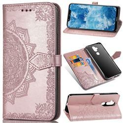 Embossing Imprint Mandala Flower Leather Wallet Case for Nokia 8.1 (Nokia X7) - Rose Gold