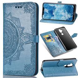 Embossing Imprint Mandala Flower Leather Wallet Case for Nokia 8.1 (Nokia X7) - Blue