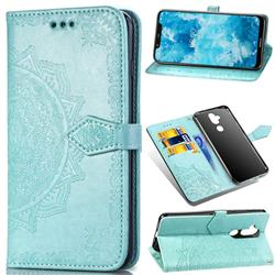 Embossing Imprint Mandala Flower Leather Wallet Case for Nokia 8.1 (Nokia X7) - Green