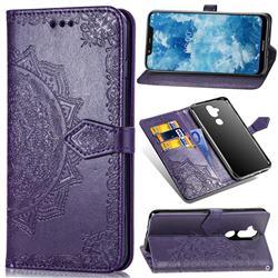 Embossing Imprint Mandala Flower Leather Wallet Case for Nokia 8.1 (Nokia X7) - Purple