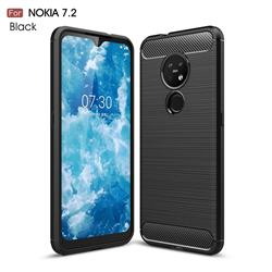 Luxury Carbon Fiber Brushed Wire Drawing Silicone TPU Back Cover for Nokia 7.2 - Black