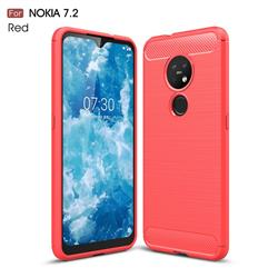 Luxury Carbon Fiber Brushed Wire Drawing Silicone TPU Back Cover for Nokia 7.2 - Red
