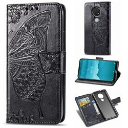 Embossing Mandala Flower Butterfly Leather Wallet Case for Nokia 7.2 - Black