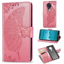 Embossing Mandala Flower Butterfly Leather Wallet Case for Nokia 7.2 - Pink