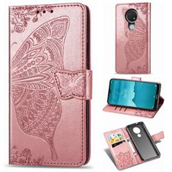 Embossing Mandala Flower Butterfly Leather Wallet Case for Nokia 7.2 - Rose Gold