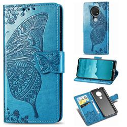 Embossing Mandala Flower Butterfly Leather Wallet Case for Nokia 7.2 - Blue