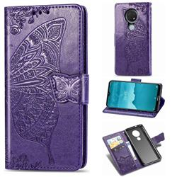 Embossing Mandala Flower Butterfly Leather Wallet Case for Nokia 7.2 - Dark Purple