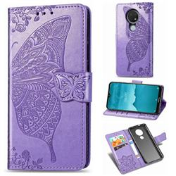 Embossing Mandala Flower Butterfly Leather Wallet Case for Nokia 7.2 - Light Purple
