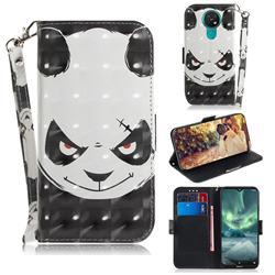 Angry Bear 3D Painted Leather Wallet Phone Case for Nokia 7.2