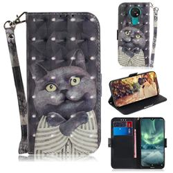 Cat Embrace 3D Painted Leather Wallet Phone Case for Nokia 7.2