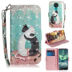 Black and White Cat 3D Painted Leather Wallet Phone Case for Nokia 7.2