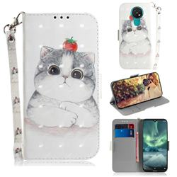 Cute Tomato Cat 3D Painted Leather Wallet Phone Case for Nokia 7.2