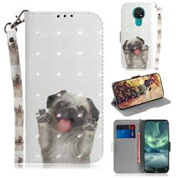 Pug Dog 3D Painted Leather Wallet Phone Case for Nokia 7.2