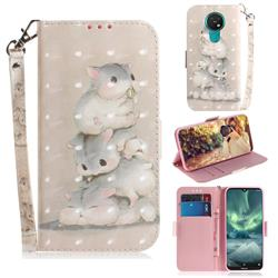 Three Squirrels 3D Painted Leather Wallet Phone Case for Nokia 7.2