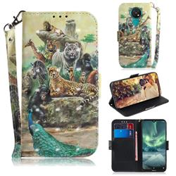 Beast Zoo 3D Painted Leather Wallet Phone Case for Nokia 7.2