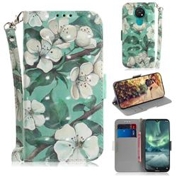 Watercolor Flower 3D Painted Leather Wallet Phone Case for Nokia 7.2