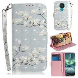 Magnolia Flower 3D Painted Leather Wallet Phone Case for Nokia 7.2