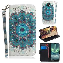Peacock Mandala 3D Painted Leather Wallet Phone Case for Nokia 7.2