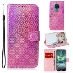 Laser Circle Shining Leather Wallet Phone Case for Nokia 7.2 - Pink