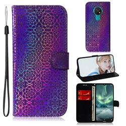 Laser Circle Shining Leather Wallet Phone Case for Nokia 7.2 - Purple