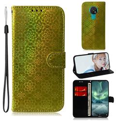 Laser Circle Shining Leather Wallet Phone Case for Nokia 7.2 - Golden