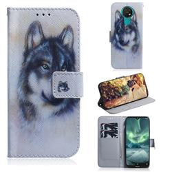 Snow Wolf PU Leather Wallet Case for Nokia 7.2