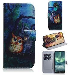 Oil Painting Owl PU Leather Wallet Case for Nokia 7.2