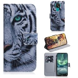 White Tiger PU Leather Wallet Case for Nokia 7.2