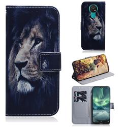 Lion Face PU Leather Wallet Case for Nokia 7.2