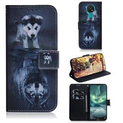Wolf and Dog PU Leather Wallet Case for Nokia 7.2