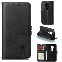 Embossing Happy Cat Leather Wallet Case for Nokia 7.2 - Black