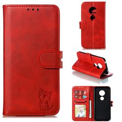 Embossing Happy Cat Leather Wallet Case for Nokia 7.2 - Red