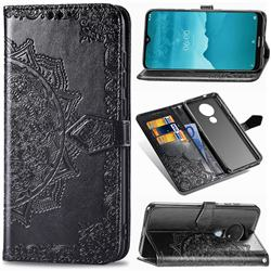 Embossing Imprint Mandala Flower Leather Wallet Case for Nokia 7.2 - Black