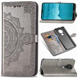 Embossing Imprint Mandala Flower Leather Wallet Case for Nokia 7.2 - Gray