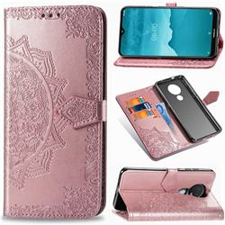 Embossing Imprint Mandala Flower Leather Wallet Case for Nokia 7.2 - Rose Gold